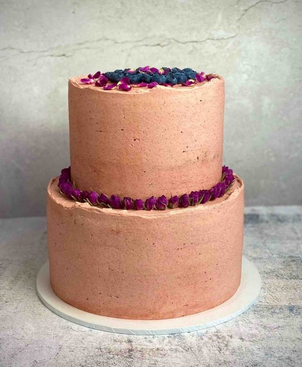 Two tier Orange blue berry cake